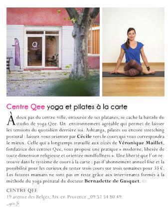 Article Toutma aix en provence Qee yoga pilates prénatal